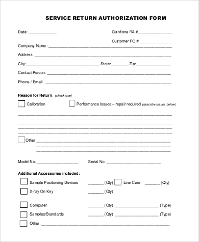 service return authorization form
