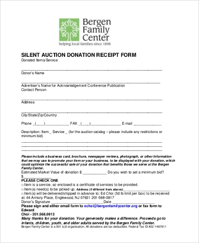 silent auction donation receipt form
