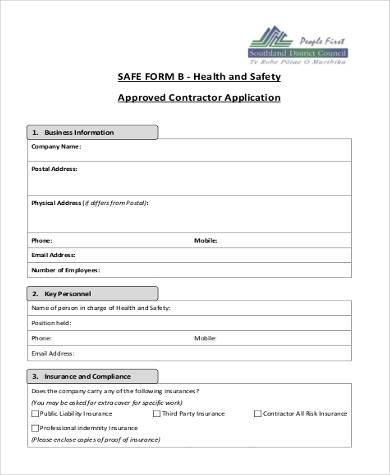 safe contractor application form