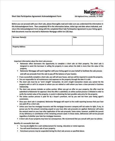 sale participation agreement form