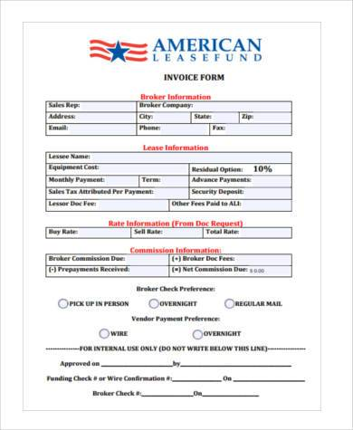 sales invoice form example1