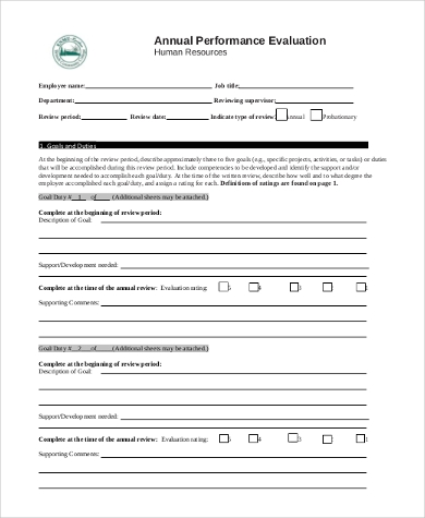 Sample Performance Evaluation Form   Free Documents In Word Pdf