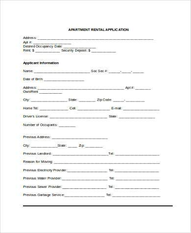 Sample Rental Applications - 8+ Free Sample, Example, Format Download