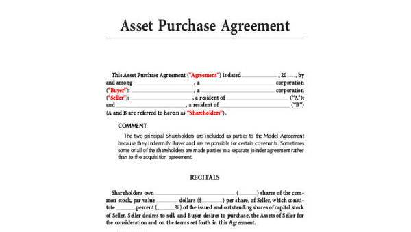 Purchase Agreements | Sample Asset Purchase Agreement 9 Free Documents In Word Pdf