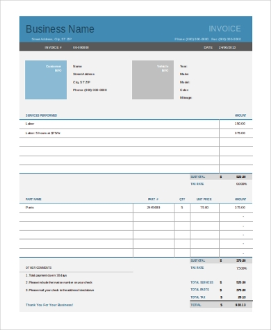 sample auto repair invoice form1