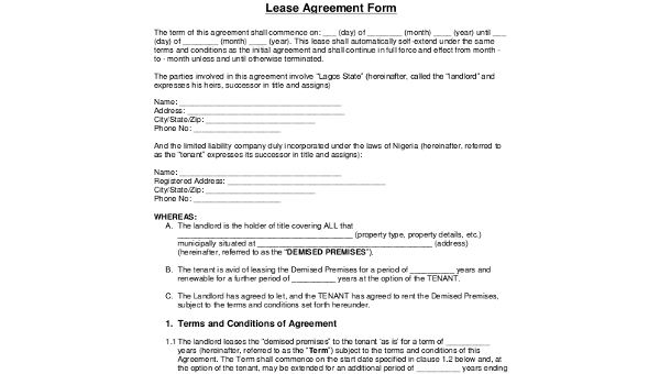 Free 8 Sample Blank Lease Forms Pdf