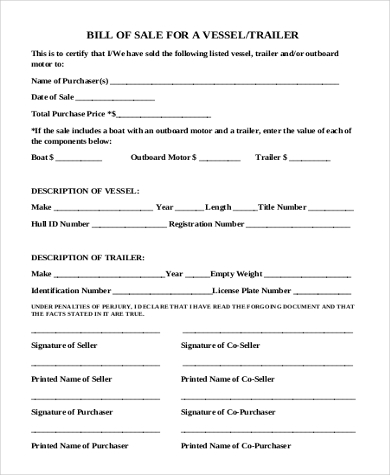 Sample Boat Bill Of Sale Form   Free Documents In Word Pdf