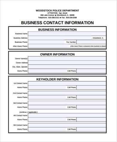 sample business contact form