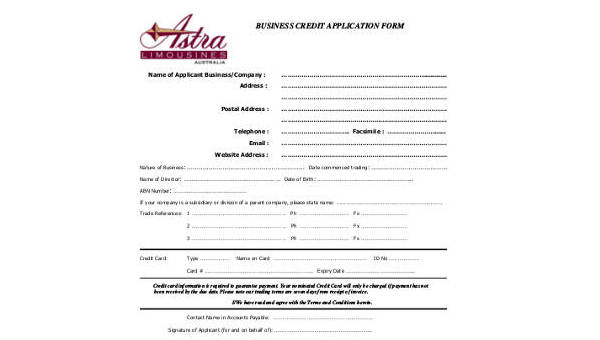 sample business credit application forms 8 free documents in word