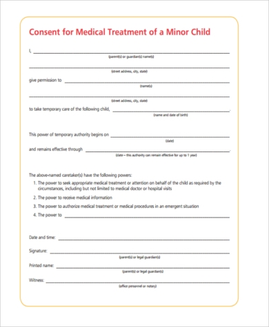Sample Child Travel Medical Consent Form