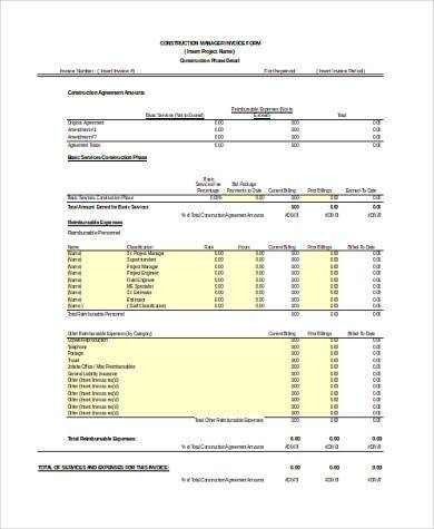 8+ construction form samples - free sample, example, format download, Invoice templates