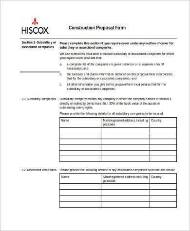 sample construction proposal form
