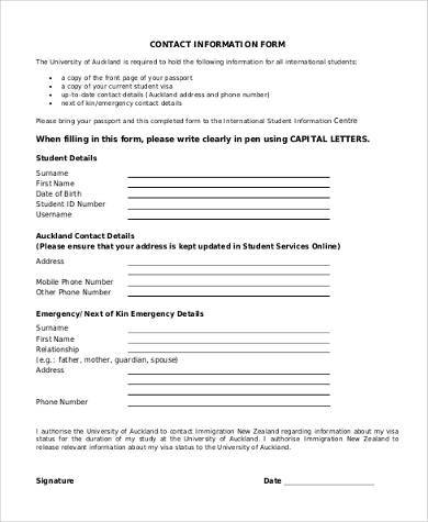sample contact information form