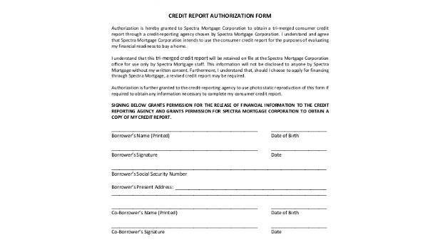 credit report authorization form Sample Credit Report Authorization Forms - 8  Free Documents in Word ...