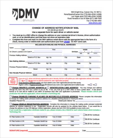 sample dmv registration address change form1