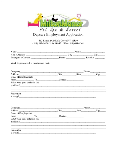 sample daycare employment application3