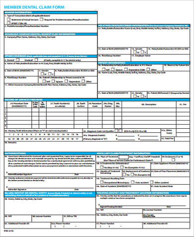 Sample Dental Claim Form Free Documents In Word Pdf