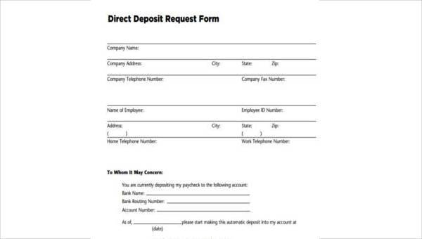 deposit format  FREE 11+ Sample Direct Deposit Forms in WORD | PDF