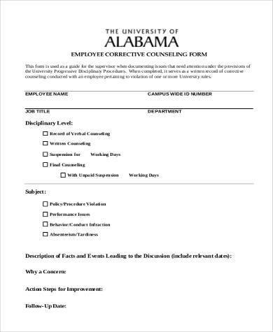 Sample Employee Counseling Form   Free Documents In Word Pdf