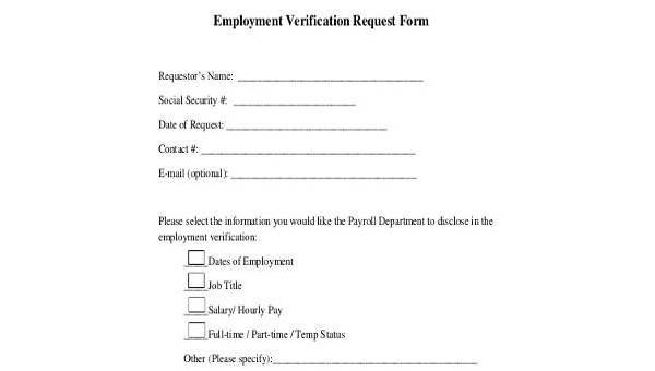 Sample Employment Verification Request Forms - 9+ Free Documents in ...