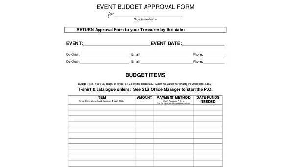 Sample Event Budget | Sample Event Budget Forms 8 Free Documents In Word Pdf