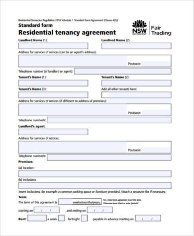 Rental Agreement Form Sample Residential Rental Agreement Form