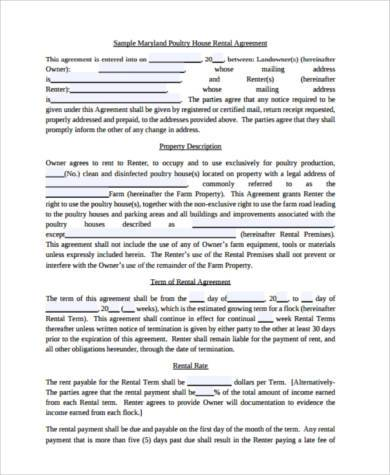 sample house rental agreement form