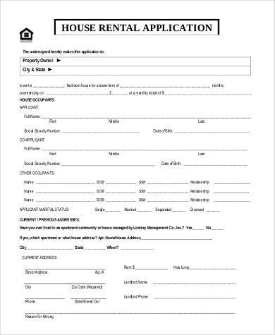 Sample Rental Applications   Free Sample Example Format Download