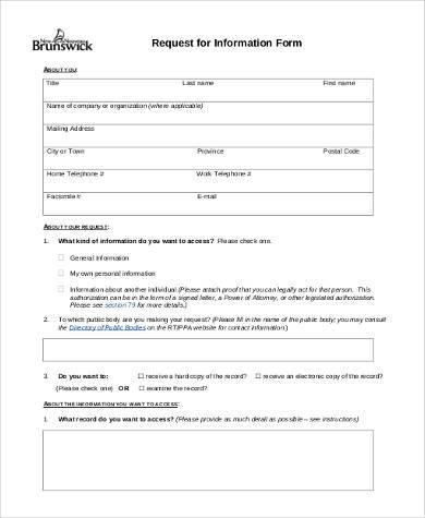 sample information request form