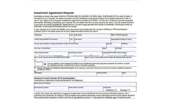 Free 8 Sample Installment Agreement Forms In Pdf Word