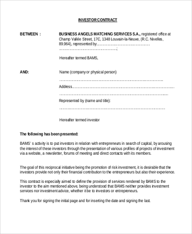 Investor Contract Template Investment Contract Template Contract