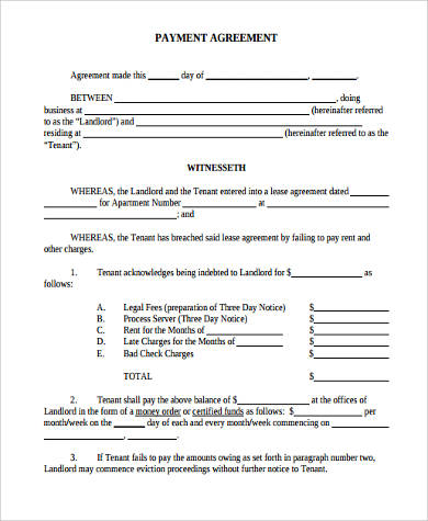 Sample Payment Agreement Form   Free Documents In Word Pdf