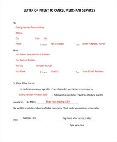 sample letter of intent to terminate contract