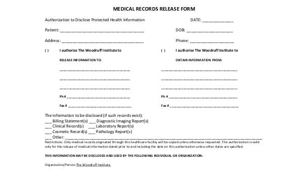 Free 8 Sample Medical Records Release Forms In Pdf Ms Word