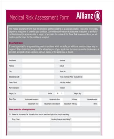 sample medical risk assessment form