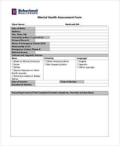 sample mental health assessment form