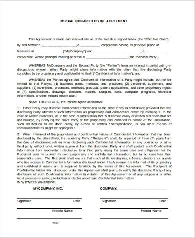 Sample Non Disclosure Agreement   Free Documents In Word Pdf
