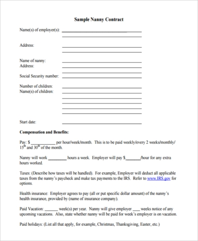 Sample nanny contract 6 free documents in pdf for Part time employment contract template free