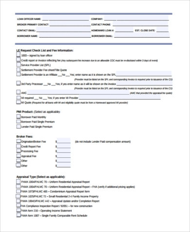 sample new loan estimate form
