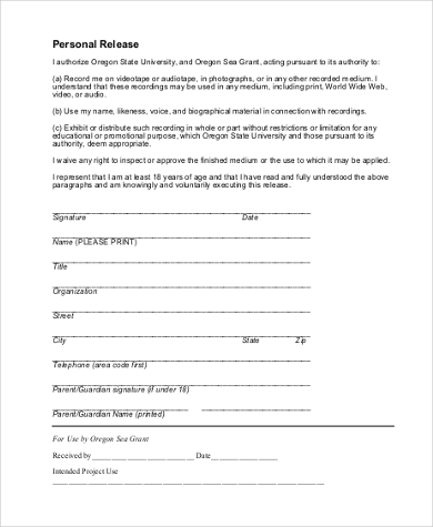 sample personal release form