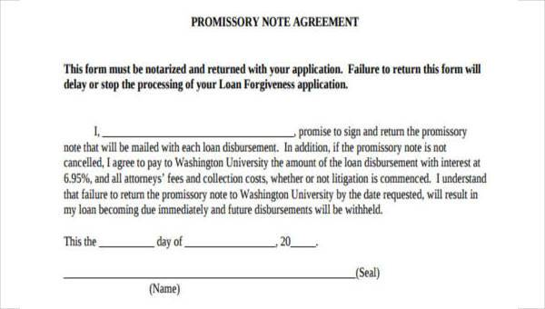 Free 7 Sample Promissory Note Agreement Forms In Pdf Word