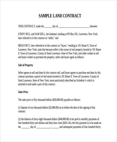 sample real estate land contract form