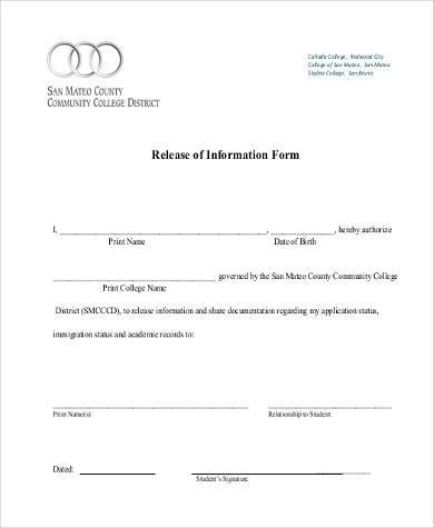 sample release of information form