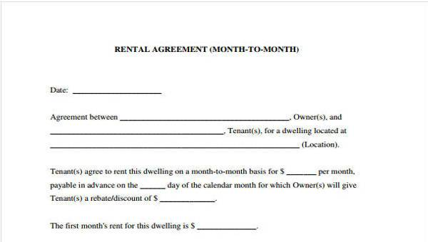 Free 8 Sample Rent Lease Agreements In Pdf Word