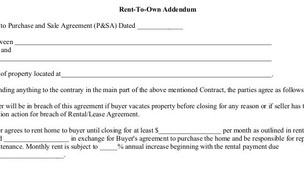 Sample Rent To Own Agreement 7 Free Documents In Word Pdf