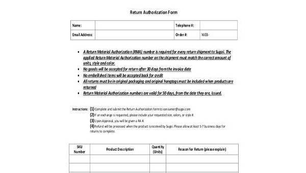 Free 8 Sample Return Authorization Forms In Pdf