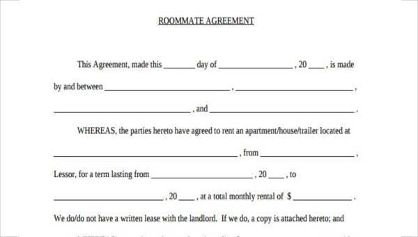Free 8 Sample Roommate Agreements In Sample Example Format