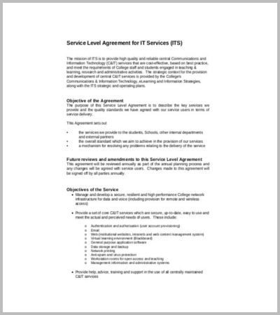 Doc661418 It Service Contract Template IT Service Agreement – Service Contract in Word