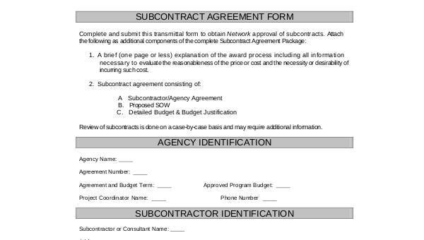 Free 8 Sample Subcontractor Agreement Forms In Pdf Word