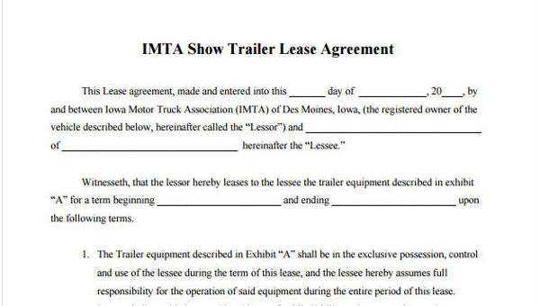 Sample Truck Lease Agreements 9 Free Documents In Word Pdf